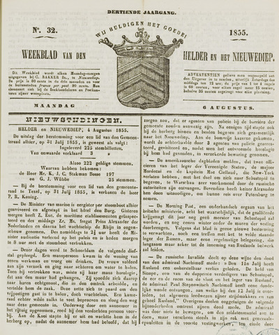 Weekblad van Den Helder en het Nieuwediep 1855-08-06