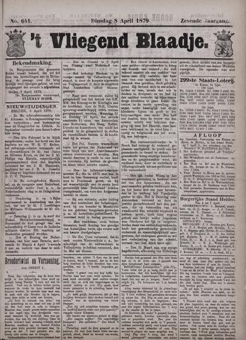 Vliegend blaadje : nieuws- en advertentiebode voor Den Helder 1879-04-08