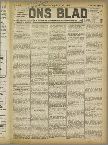 Ons Blad : katholiek nieuwsblad voor N-H 1918-04-11