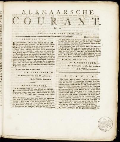 Alkmaarsche Courant 1816-04-08
