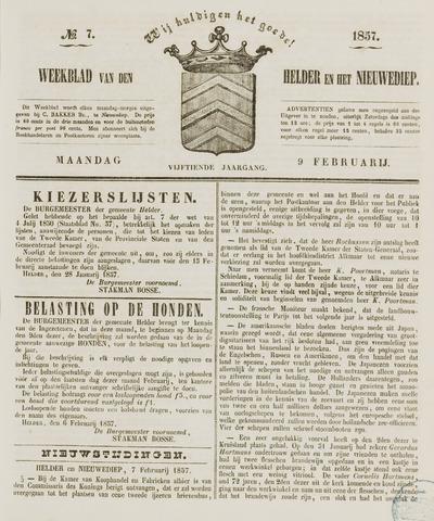 Weekblad van Den Helder en het Nieuwediep 1857-02-09