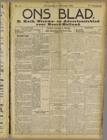 Ons Blad : katholiek nieuwsblad voor N-H 1911-02-08