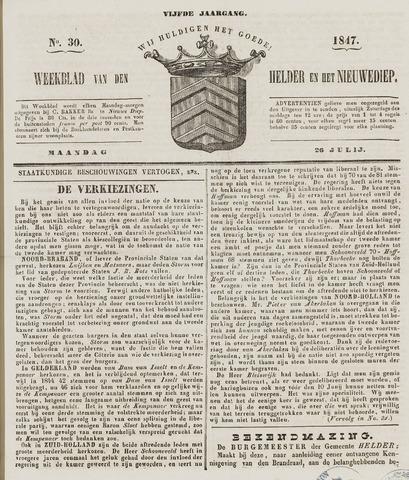 Weekblad van Den Helder en het Nieuwediep 1847-07-26