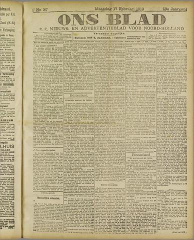 Ons Blad : katholiek nieuwsblad voor N-H 1919-02-17