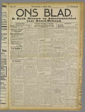 Ons Blad : katholiek nieuwsblad voor N-H 1911-04-05