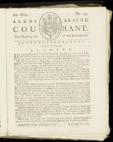 Alkmaarsche Courant 1809-03-27