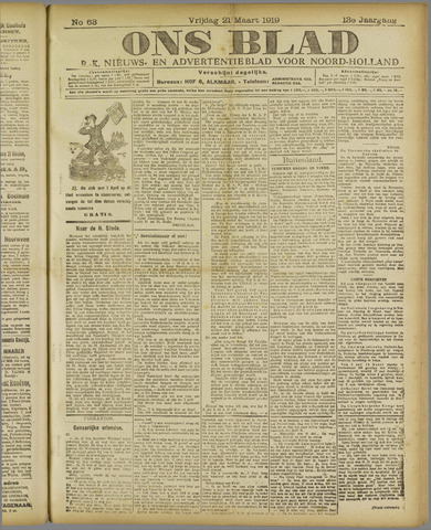 Ons Blad : katholiek nieuwsblad voor N-H 1919-03-21