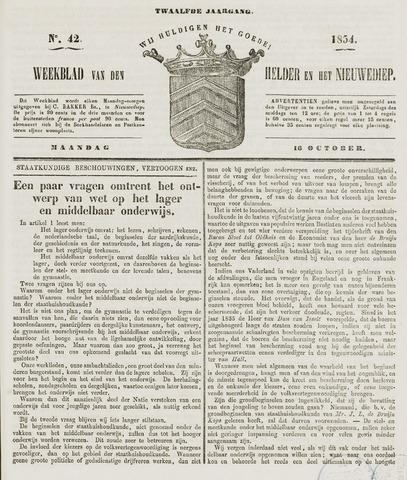 Weekblad van Den Helder en het Nieuwediep 1854-10-16