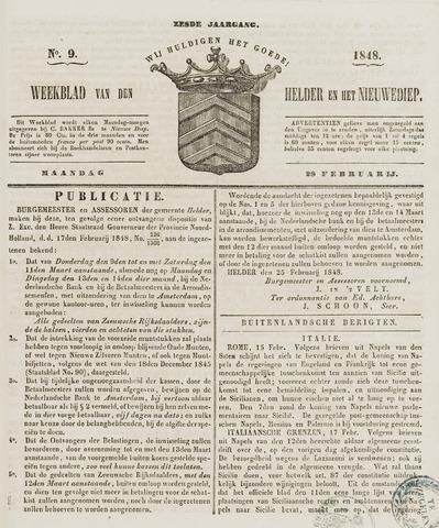 Weekblad van Den Helder en het Nieuwediep 1848-02-28