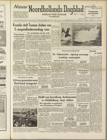 Nieuw Noordhollandsch Dagblad : voor Alkmaar en omgeving 1951-08-07