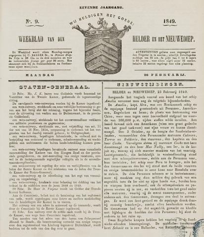Weekblad van Den Helder en het Nieuwediep 1849-02-26
