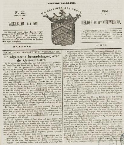 Weekblad van Den Helder en het Nieuwediep 1851-05-26