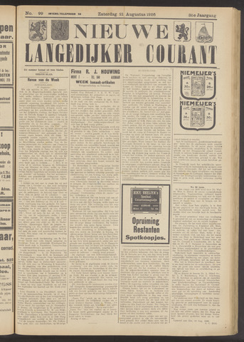 Nieuwe Langedijker Courant 1926-08-21