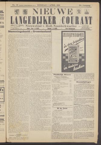 Nieuwe Langedijker Courant 1930-04-01