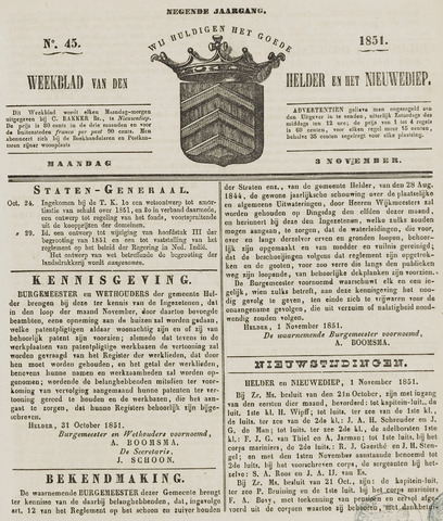 Weekblad van Den Helder en het Nieuwediep 1851-11-03