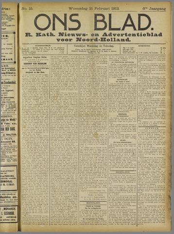 Ons Blad : katholiek nieuwsblad voor N-H 1912-02-21