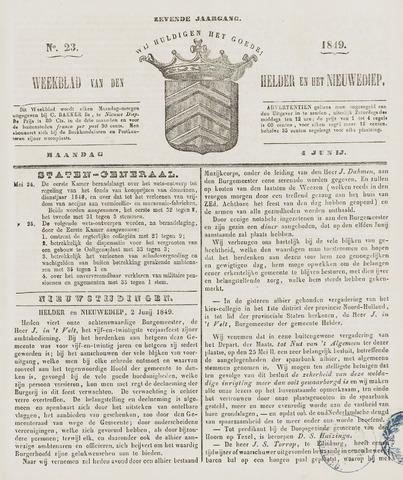 Weekblad van Den Helder en het Nieuwediep 1849-06-04