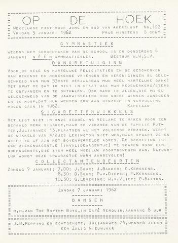 Op De Hoek, weekblad voor Akersloot 1962-01-05