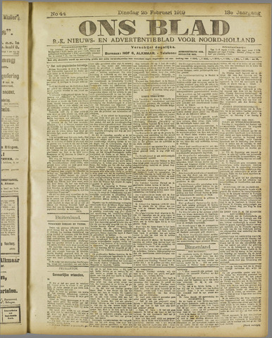 Ons Blad : katholiek nieuwsblad voor N-H 1919-02-25