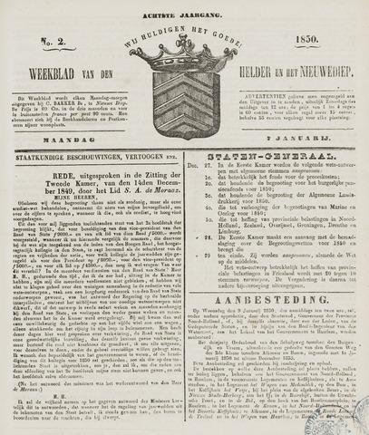Weekblad van Den Helder en het Nieuwediep 1850-01-07