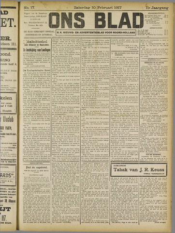 Ons Blad : katholiek nieuwsblad voor N-H 1917-02-10
