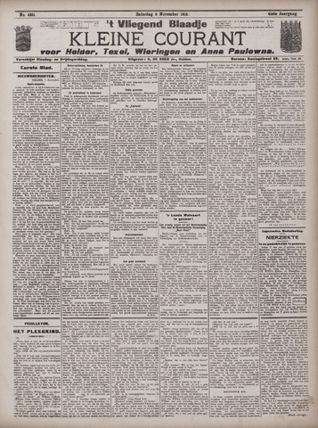Vliegend blaadje : nieuws- en advertentiebode voor Den Helder 1913-11-08