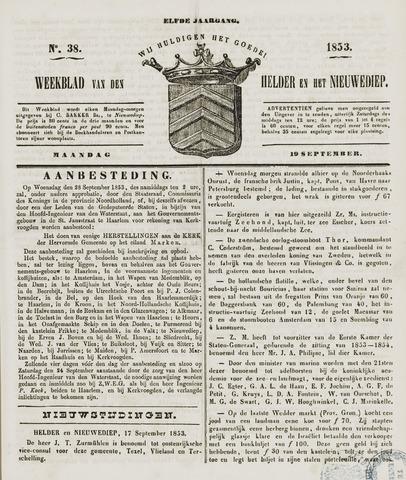 Weekblad van Den Helder en het Nieuwediep 1853-09-19