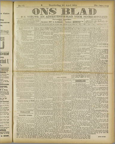 Ons Blad : katholiek nieuwsblad voor N-H 1919-04-24