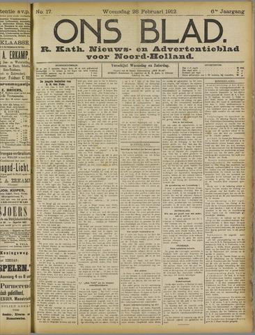 Ons Blad : katholiek nieuwsblad voor N-H 1912-02-28