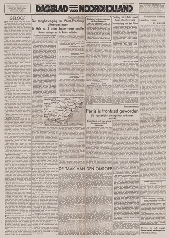 Dagblad Noord-Holland, Schager editie 1944-08-19