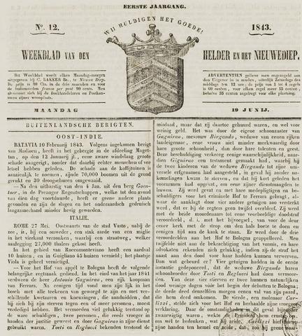 Weekblad van Den Helder en het Nieuwediep 1843-06-19