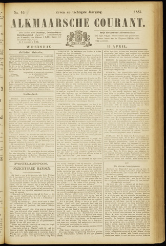 Alkmaarsche Courant 1885-04-15