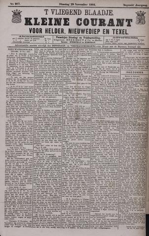 Vliegend blaadje : nieuws- en advertentiebode voor Den Helder 1881-11-29