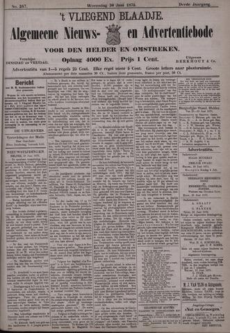 Vliegend blaadje : nieuws- en advertentiebode voor Den Helder 1875-06-30