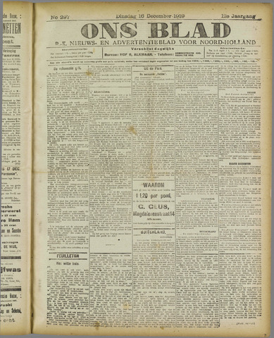 Ons Blad : katholiek nieuwsblad voor N-H 1919-12-16
