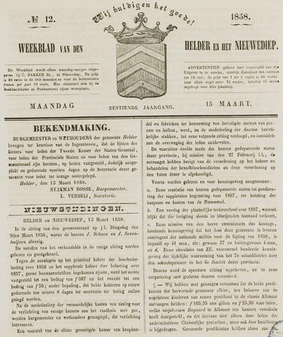 Weekblad van Den Helder en het Nieuwediep 1858-03-15