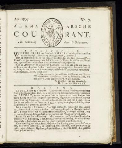 Alkmaarsche Courant 1807-02-16