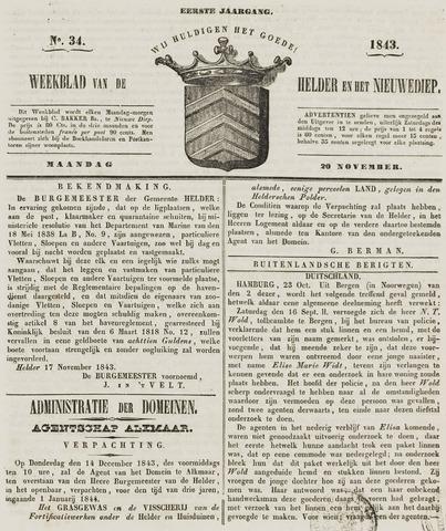 Weekblad van Den Helder en het Nieuwediep 1843-11-20