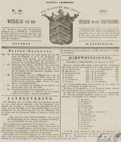 Weekblad van Den Helder en het Nieuwediep 1851-09-29