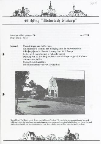 Informatieblad stichting Historisch Niedorp 1998