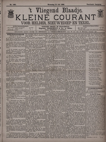 Vliegend blaadje : nieuws- en advertentiebode voor Den Helder 1886-07-21