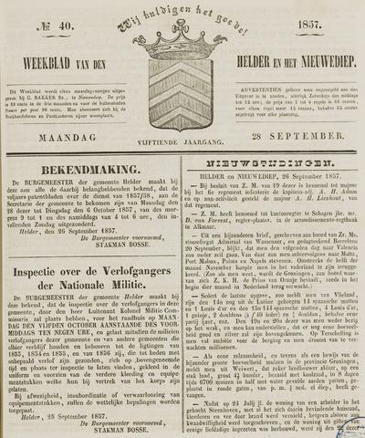 Weekblad van Den Helder en het Nieuwediep 1857-09-28