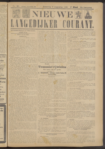 Nieuwe Langedijker Courant 1922-08-05