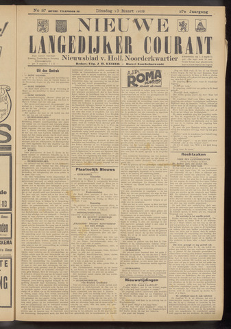 Nieuwe Langedijker Courant 1928-03-27