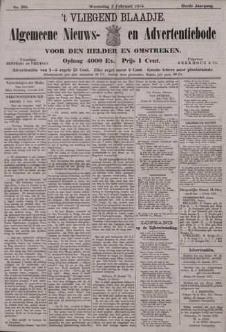 Vliegend blaadje : nieuws- en advertentiebode voor Den Helder 1875-02-03