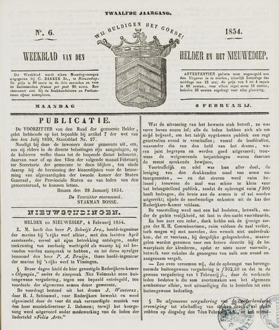 Weekblad van Den Helder en het Nieuwediep 1854-02-06