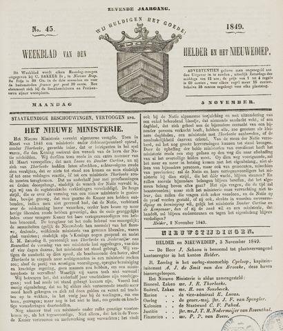 Weekblad van Den Helder en het Nieuwediep 1849-11-05