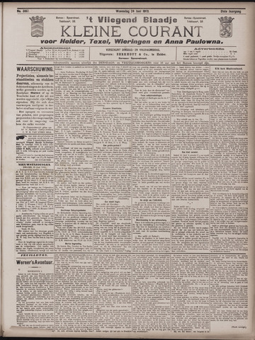 Vliegend blaadje : nieuws- en advertentiebode voor Den Helder 1903-06-24