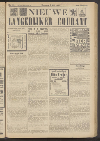 Nieuwe Langedijker Courant 1926-05-01