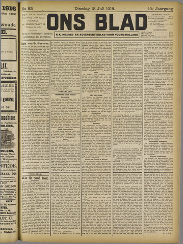 Ons Blad : katholiek nieuwsblad voor N-H 1916-07-18